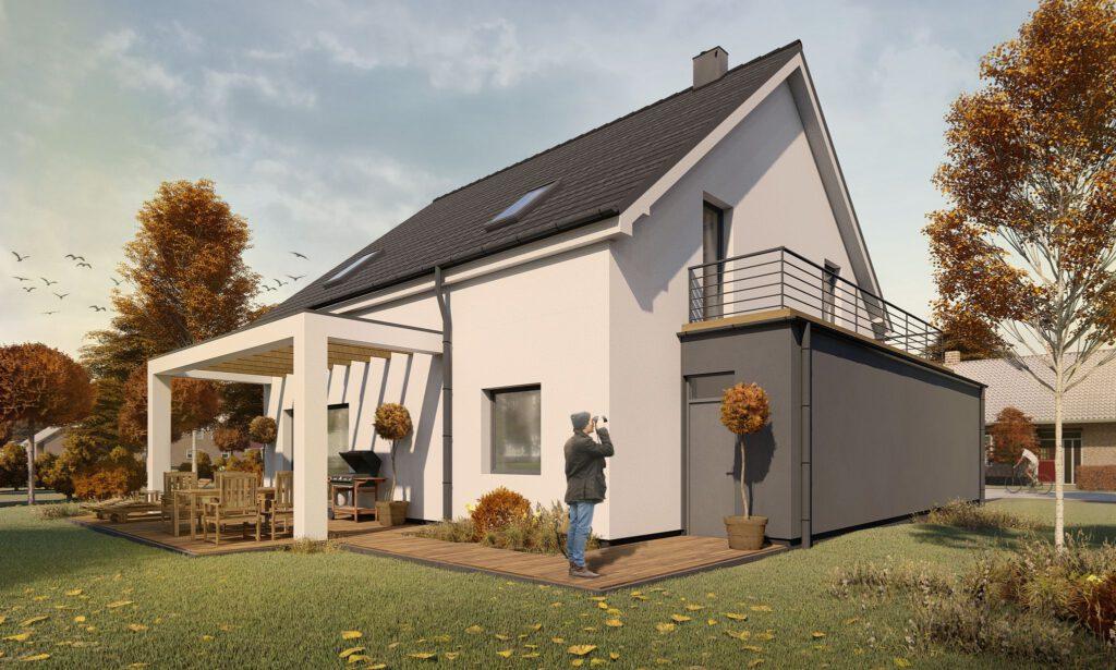 wizualizacja domu, taras z pergolą i drewnianymi belkami_CPD Architekci